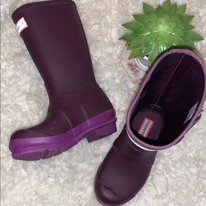 Hunter Girls Dark Purple Pull-on Tall Rain Boots